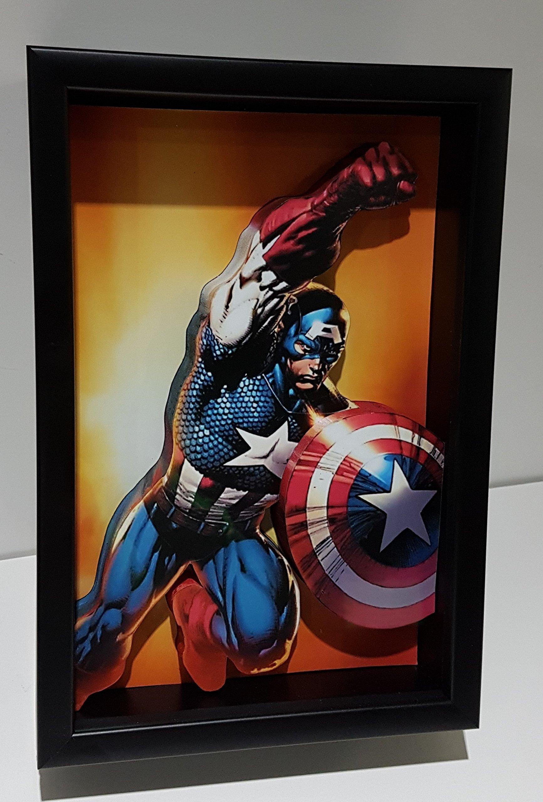Captain America Picture Frame 3D Art Marvel Steve Rogers Super Hero Agent of Shield Avengers Comic