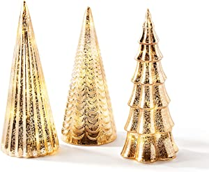 Mercury Glass Christmas Tree Decoration - Set of 3 Assorted Trees with Fairy Lights, 10 Inch Tall, Champagne Gold, Batteries Included, Holiday Table Centerpiece or Mantle Decor
