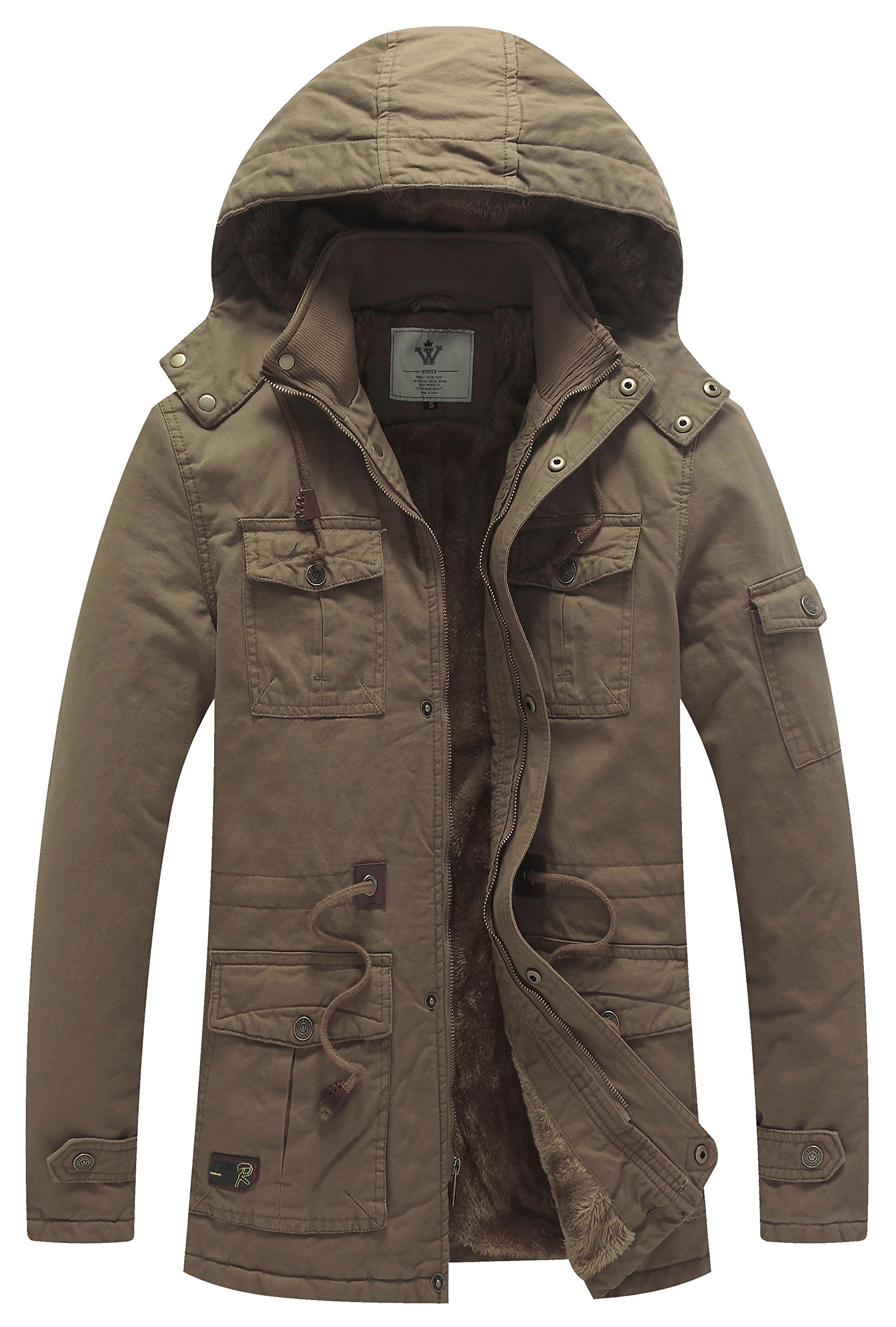 WenVen Men's Causual Thick Winter Hooded Coat Suited To Sub-Zero (Khaki,US XL)