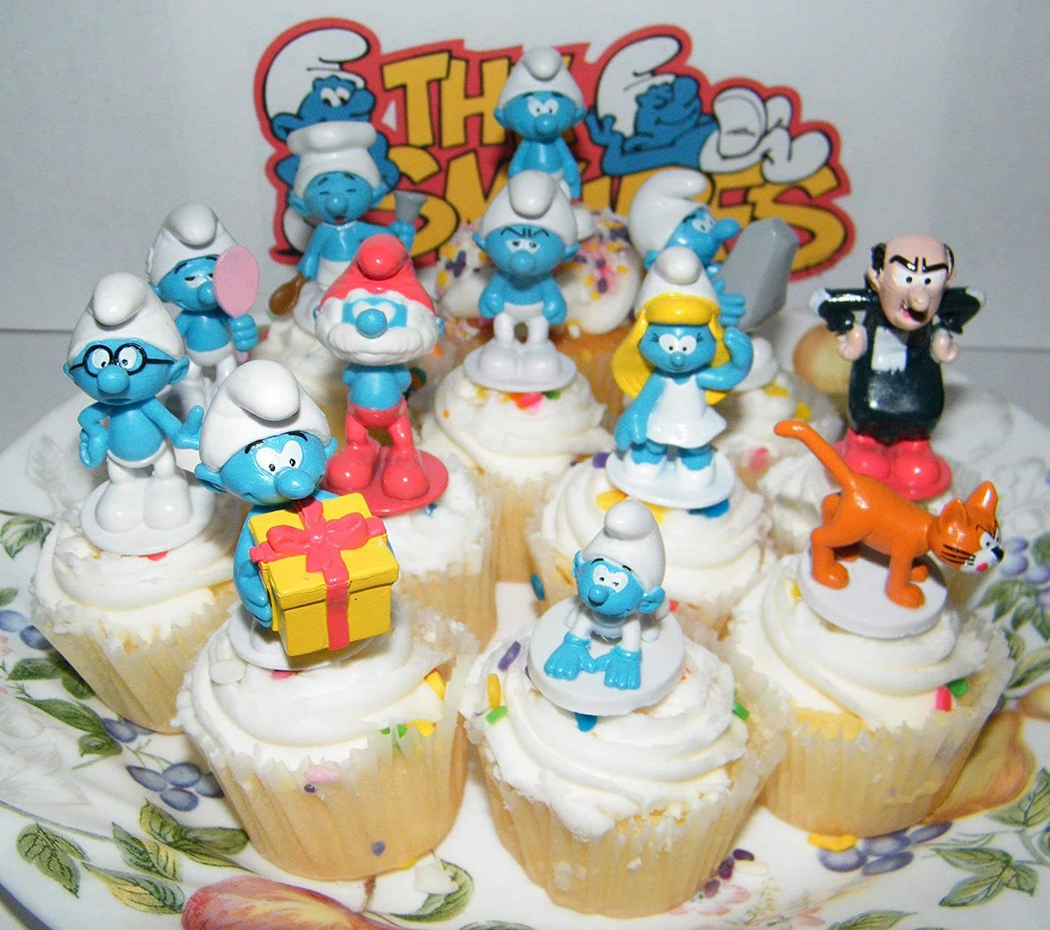 Smurf Deluxe Figure Cake Toppers Cupcake Party Favor Decorations Set Of 12 With Baby Smurf Brainy Smurf Smurfette Gargamel Azrael And More