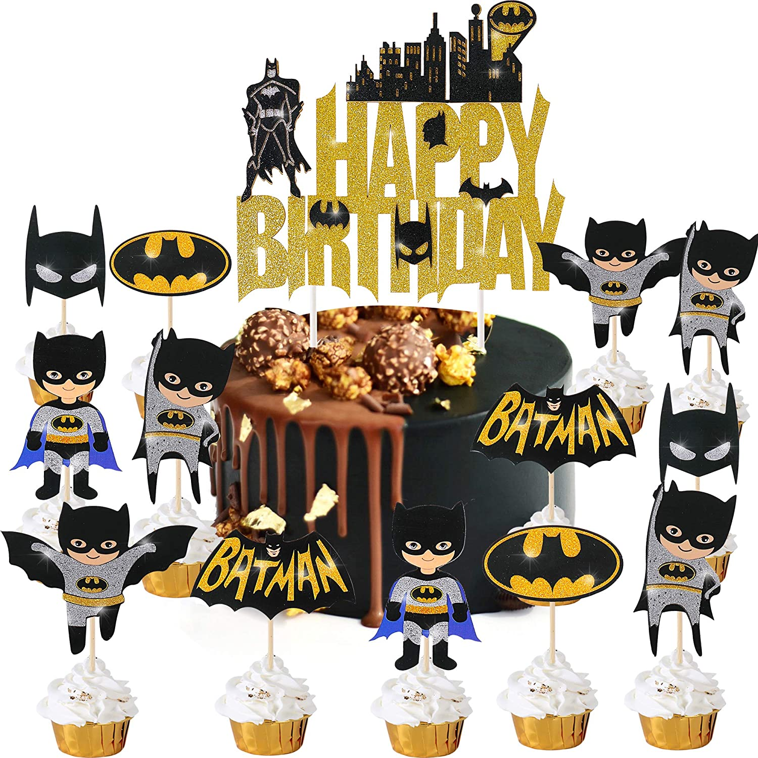 Batman Birthday Supplies Happy Birthday Cake Cupcake Toppers Decorations for Batman Theme Party for Kids Birthday Super Hero Theme Party Baby Shower Favor Food Picks Supplies Set of 25