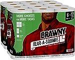 Brawny Tear-A-Square Paper Towels, 12 = 24 Regular Rolls, 3 Sheet