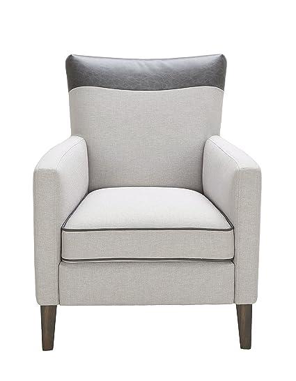 Sunpan Modern Aston Armchair Silver Linen Fabric, 31u0026quot; ...