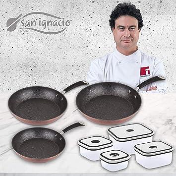 San Ignacio Premium Set de 3 sartenes MOMA + 4 recipientes herméticos, fiambreras: Amazon.es: Hogar