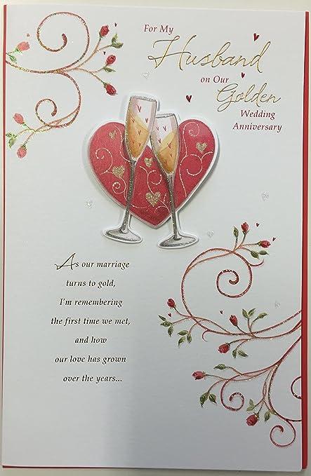 Auguri Per Il Nostro Anniversario Di Matrimonio.Marito Per Anniversario Di Matrimonio Dorato Grande New Gift