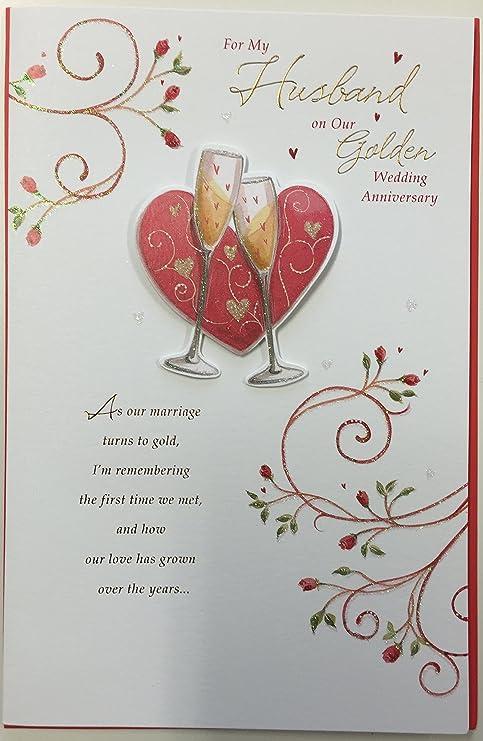 Biglietti Per Anniversario Di Matrimonio.Marito Per Anniversario Di Matrimonio Dorato Grande New Gift
