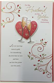 For my husband on our golden 50th wedding anniversary card icg husband 50th wedding anniversary golden large handmade greeting card new gift m4hsunfo