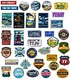 Chileeany「35枚セット」 防水 ステッカー レトロ ビンテージ スーツケース 防水紙 - スーツケース、スケートボード、ノート、車、自転車、 パソコン(World Tour)