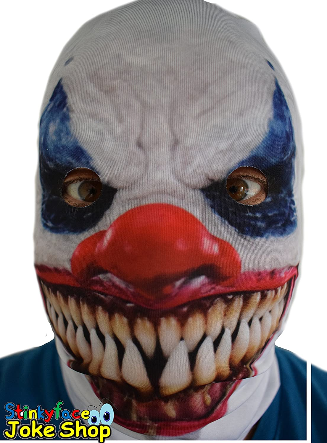 White Demon Killer Clown Adult Face Mask Realistic Printed Lycra ...