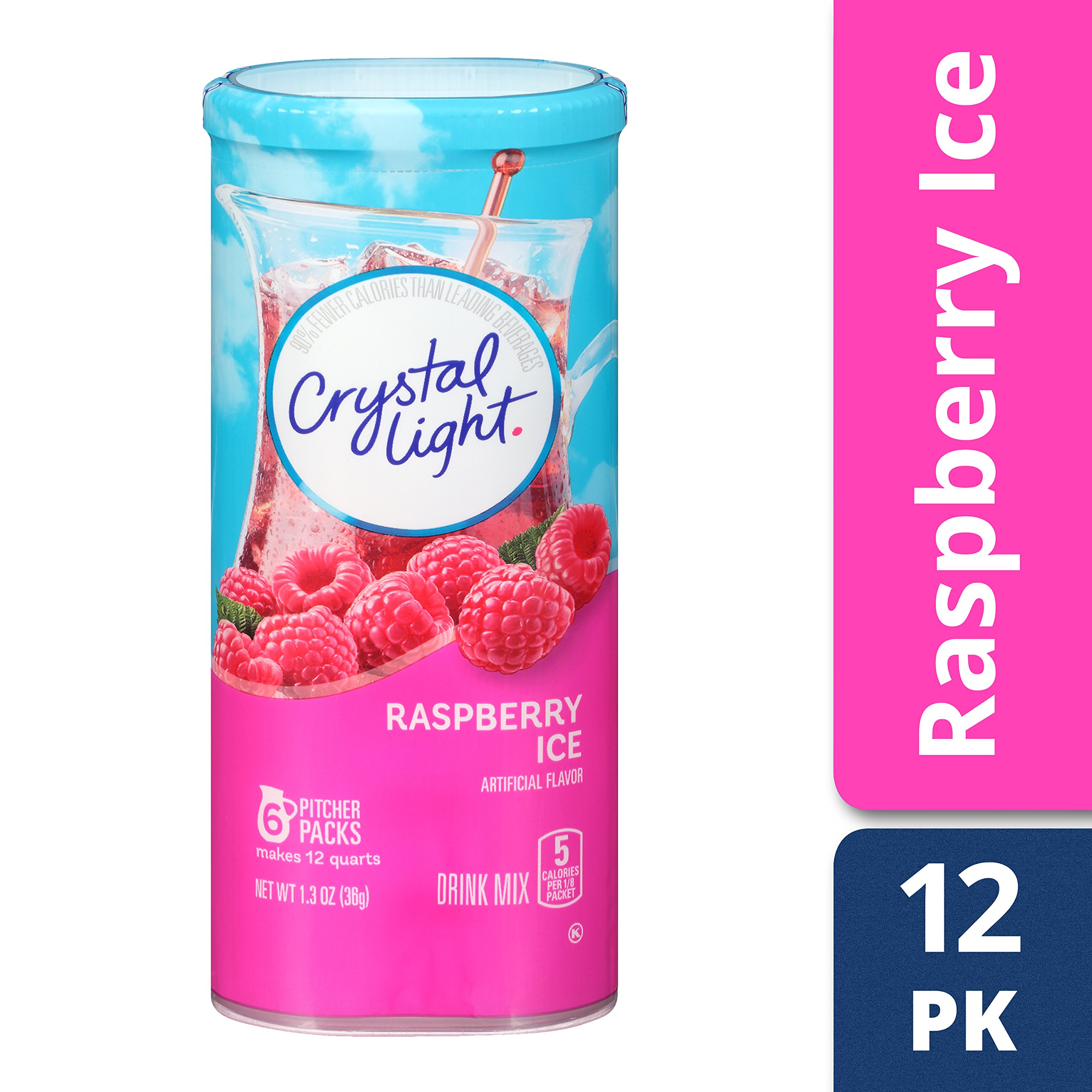 Crystal Light Raspberry Ice Drink Mix (72 Pitcher Packets, 12 Canisters of 6) by Crystal Light