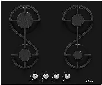 nouveau produit 5c730 8e8f3 Hudson Table Plaque de Cuisson 4 feux Gaz - HTG 4 VN - à encaster - Design  moderne Verre Noir - très haute résistance (580 x 510 x 40 mm),