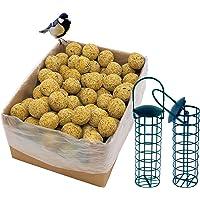dobar Lot de 100 Boules de Graisse avec Filet et 2 Porte-Boules de Graisse Inclus 9 kg