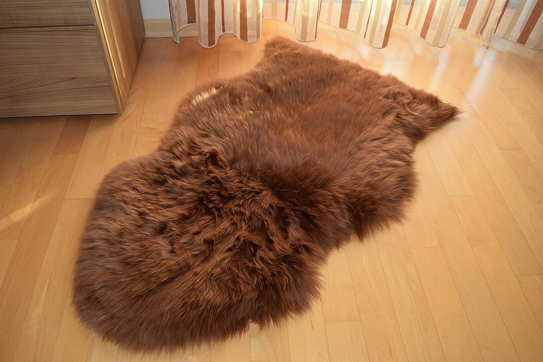 90-100cm Peau dagneau rouge Peau De Mouton Tapis mouton naturel teint/é