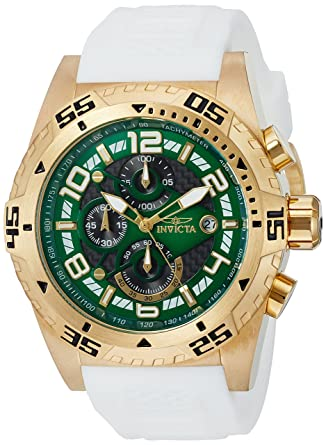 Invicta Mens Quartz Stainless Steel and Silicone Casual Watch, Color:White (Model: