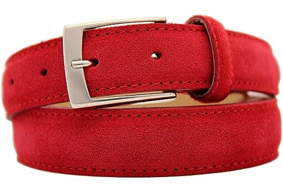 ae2f8acb0c88d4 NISAR Italienischer Wildledergürtel Herren Damen Suede Belt Rot UniSex  Gürtel 3cm Breit (85 cm)