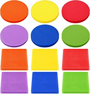72 Pieces Carpet Markers 4 Inch Floor Sit Markers Carpet Spot Markers Rug Squares Circles Dots for Gym Classroom Preschool Kindergarten Elementary Teachers, 6 Colors