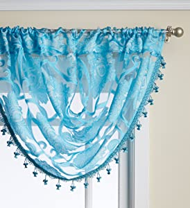 Regal Home Collections Milawi Sheer Jacquard Scroll Waterfall Valance, 57 by 37-Inch, Blue