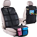 Car Seat Protector + Rear Seat Organizer For Kids - Waterproof & Stain Resistant Protective Backseat Kick Mat W/Storage…