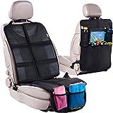 Car Seat Protector + Rear Seat Organizer For Kids - Waterproof & Stain Resistant Protective Backseat Kick Mat W/Storage Pocke
