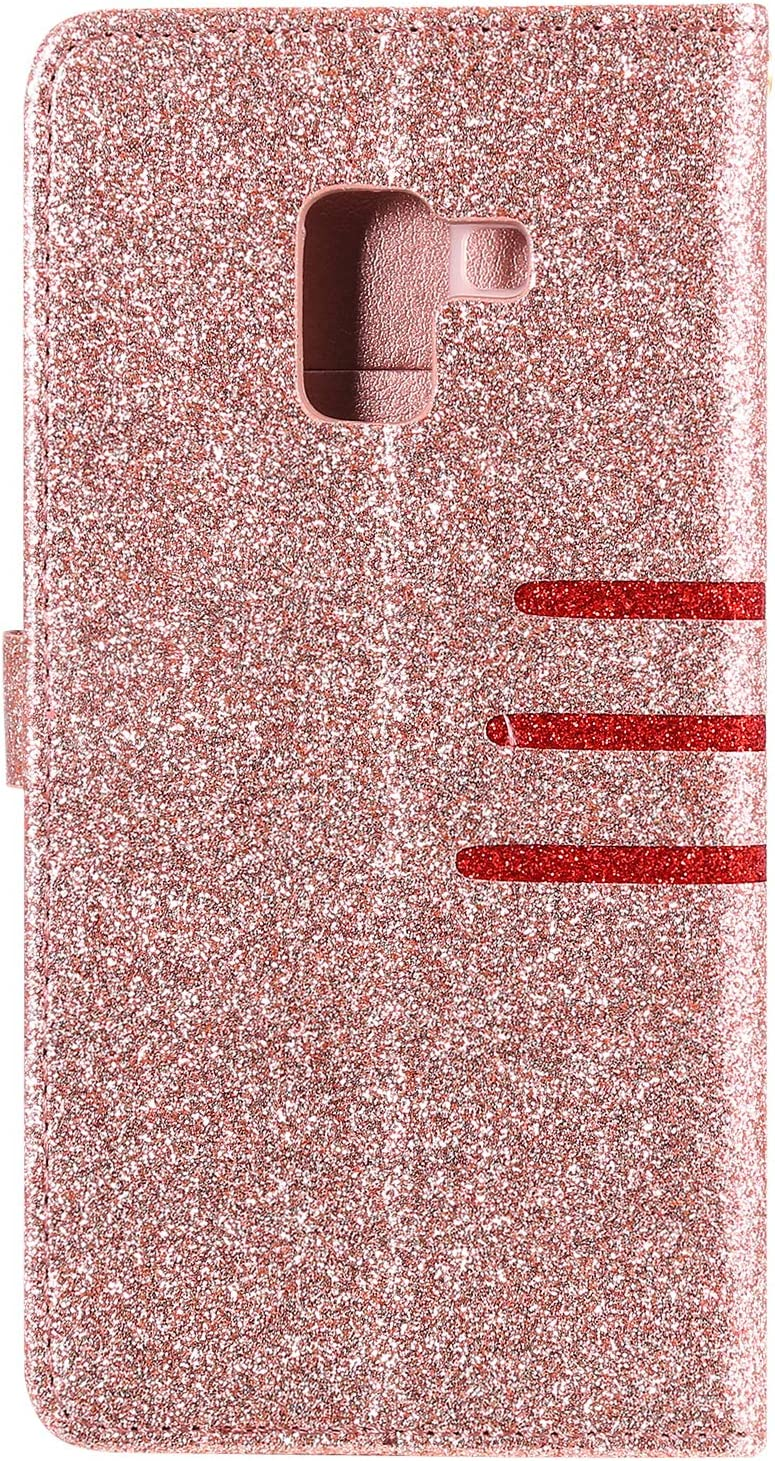 Glitter Wallet Case for Samsung Galaxy A6 2018 with Wrist Strap,QFFUN Luxury Bling Magnetic Closure Folio Stand Feature PU Leather Phone Cases Flip Cover Bumper and Screen Protector Black