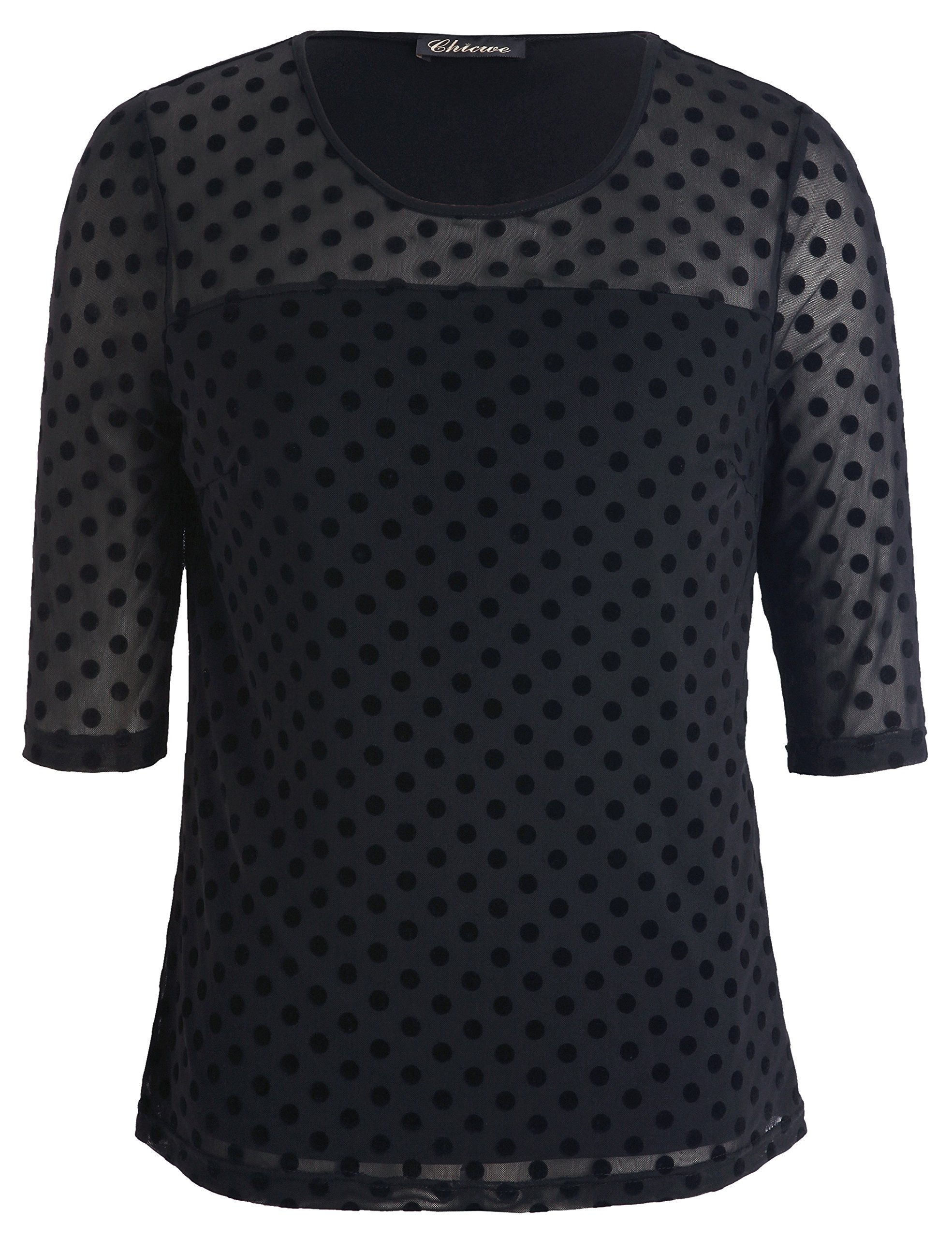 Chicwe Women's Plus Size Stretch Dot Mesh Jumper Blouse - Casual and Work Top 3X