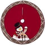 (Black Hat Snowman) - iPEGTOP Christmas Tree Skirt, Snowman Xmas Tree Skirt Holiday Decorations, Cherry Non Woven and Tartan Rim