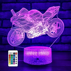 FlyonSea Motorcycle Night Light Kids Lamp, Cool Gadgets for Teen Room Decor for Bedroom Aesthetic Room Décor, Touch and Remote 16 Color Changing, Birthday Gifts for Teenage Boys Boyfriend Men Kids