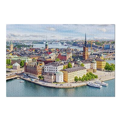 Stockholm, Sweden - Aerial View of Old Town Skyline 9011651 (Premium 1000 Piece Jigsaw Puzzle for Adults, 20x30, Made in USA!): Toys & Games