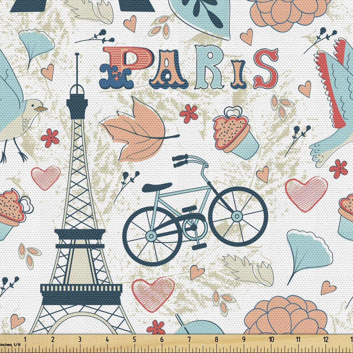 Ambesonne Paris Fabric by The Yard, Dove Cupcake Eiffel Tower Flowers Falling Leaves Love Grungy Autumn in France Theme, Decorative Fabric for Upholstery and Home Accents, 2 Yards, Blush Turquoise