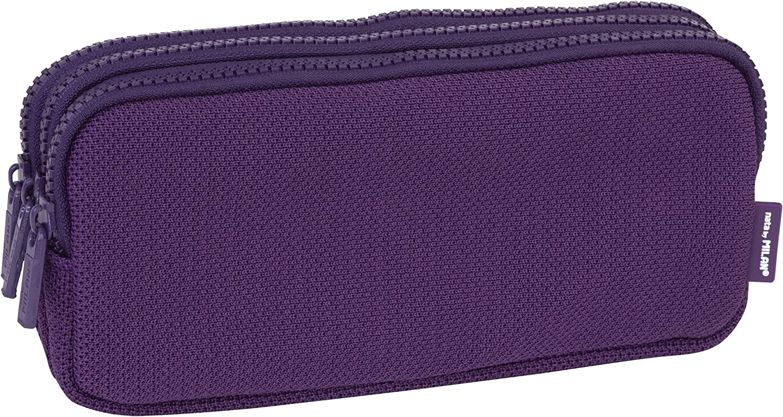 MILAN Portatodo 3 Cremalleras Knit Deep Purple Estuches, 22 cm, Morado: Amazon.es: Equipaje