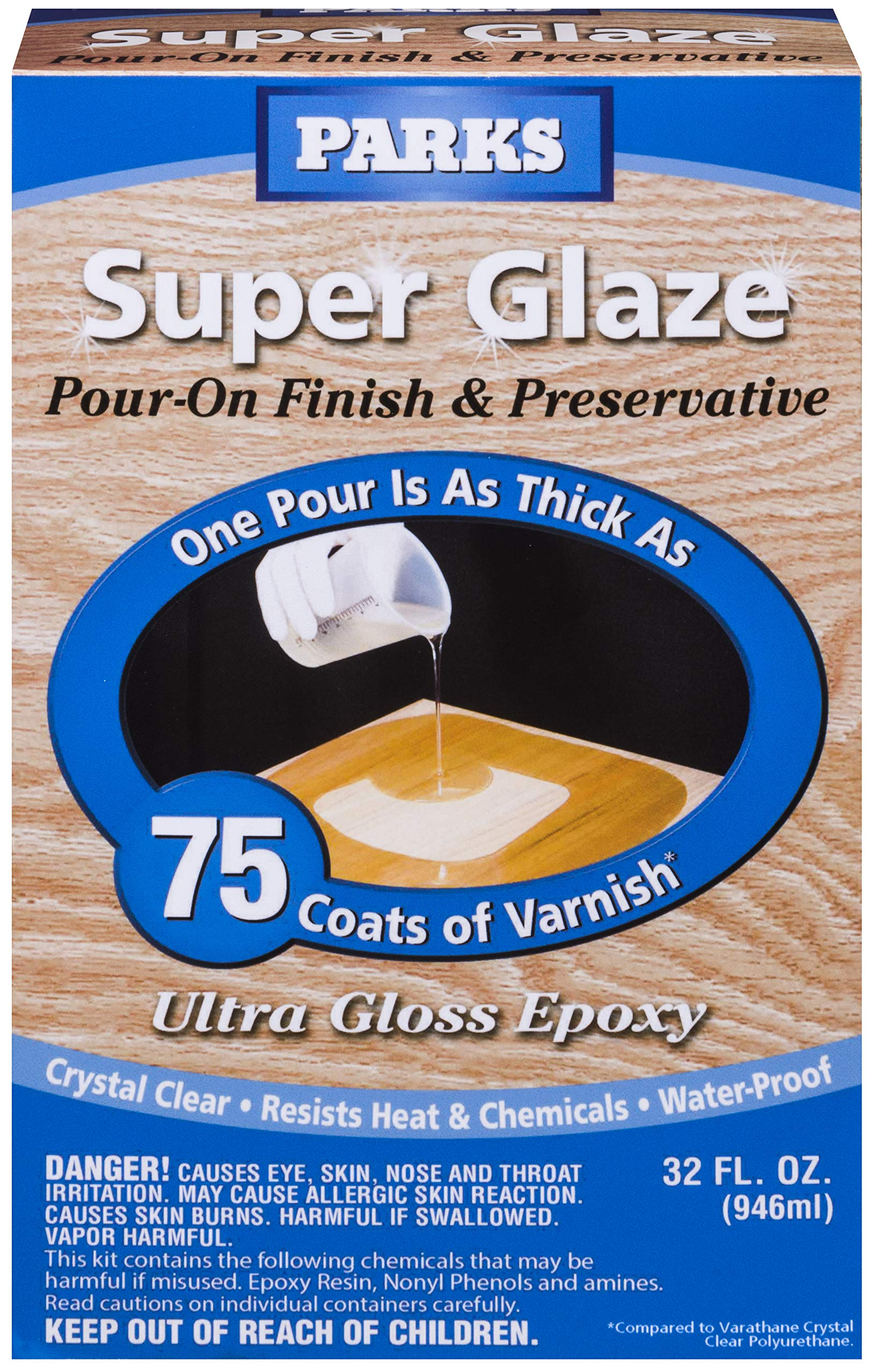 Rust-Oleum Parks Super Glaze, 241352 Ultra Glossy Epoxy Finish and Preservative Kit, Clear 32 Fl Oz by Rust-Oleum