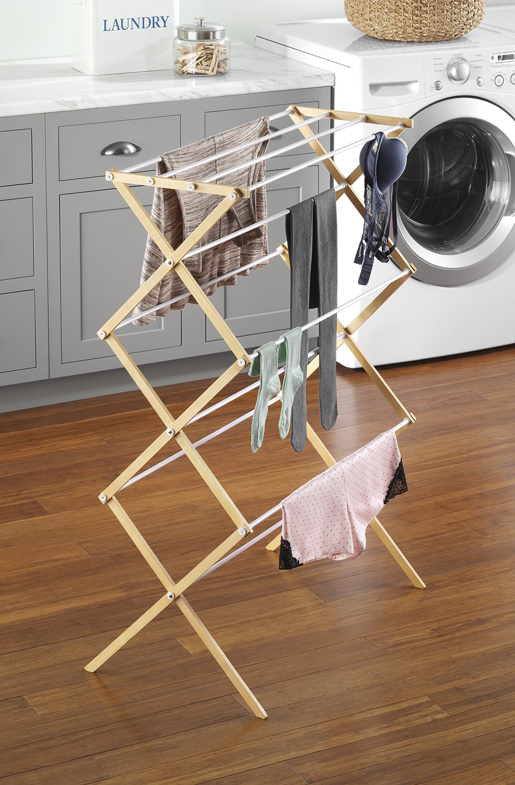 Whitmor Natural Wood Drying Rack - Natural Wood Drying Rack includes 11 bars for drying space For indoor and outdoor use Designed to drop open and lock into position - laundry-room, entryway-laundry-room, drying-racks - 91VysRLV1rL -