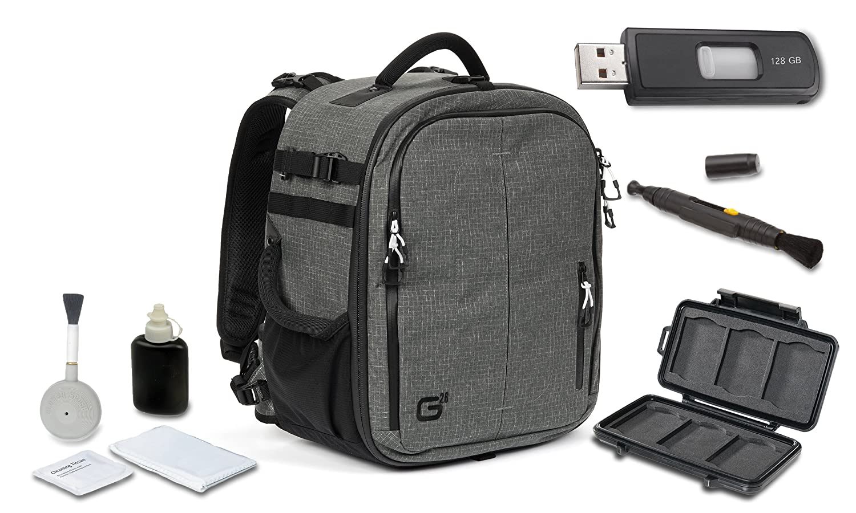 Tamrac g26バックパック(ダークオリーブ) + High Speed 128 GB USBスティック+クリーニングキット4個+レンズペンクリーニングブラシ+メモリカード財布 B01DI7DK3A