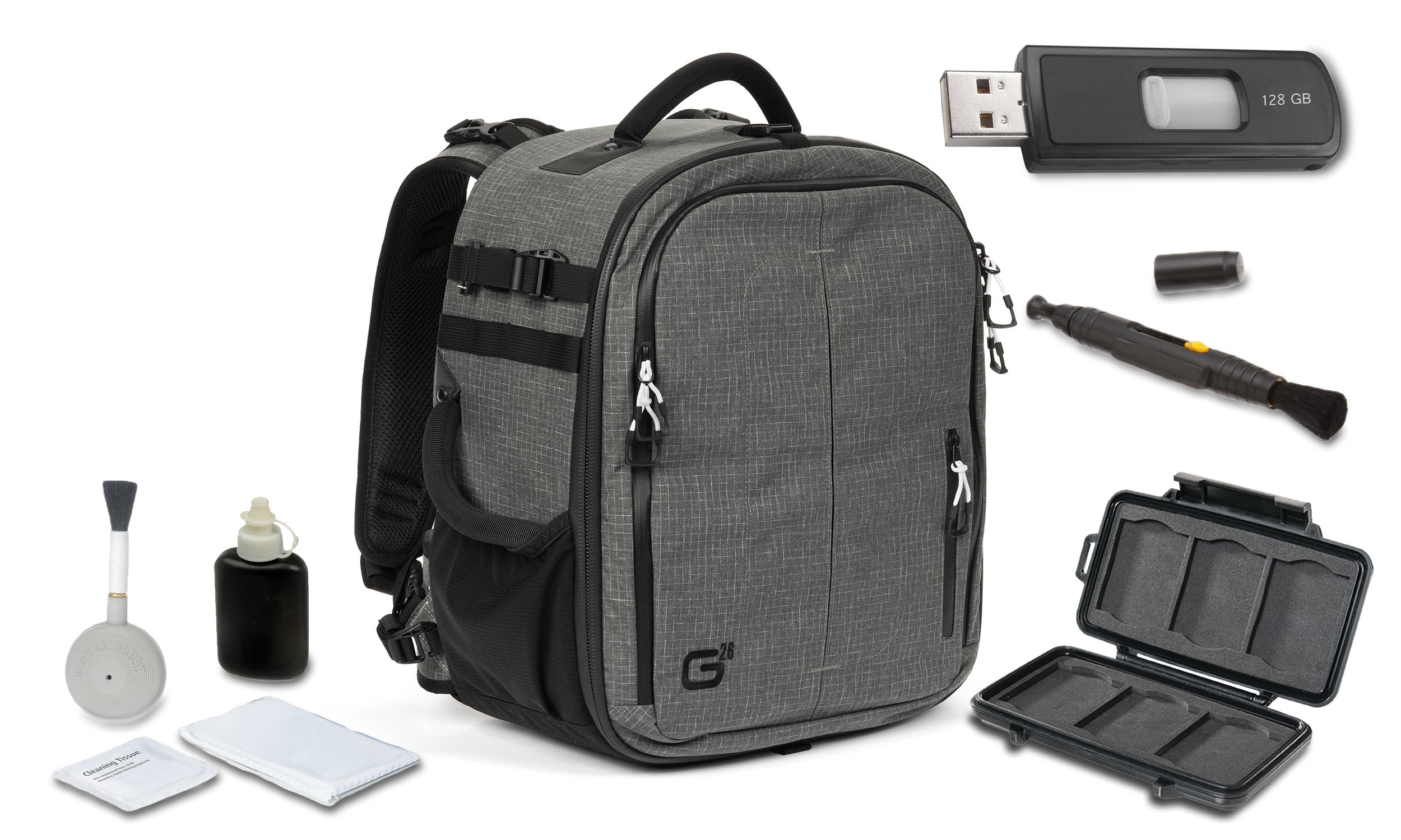 Tamrac G26 Backpack (Dark Olive) + High Speed 128GB USB Stick + Cleaning Kit 4pc + Lens Pen Cleaning Brush + Memory Card Wallet