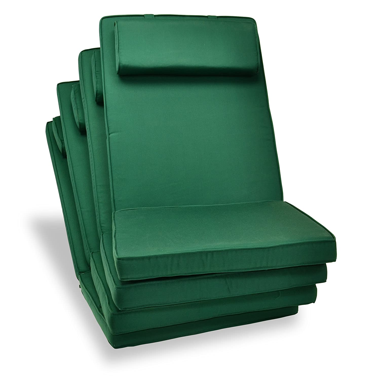 Nexos DIVERO hochwertiges 4-er Set Sitzauflagen Auflage Polster für Hochlehner Gartenstuhl Gartensessel Klappstuhl in dunkelgrün