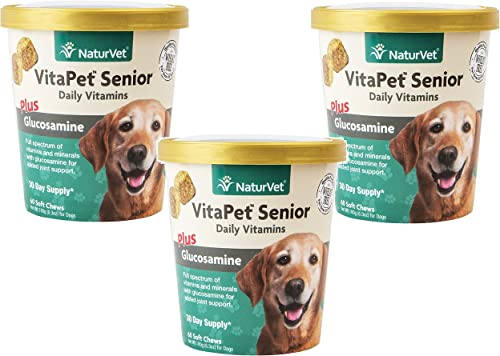 180-Count NaturVet VitaPet Senior Daily Vitamins Plus Glucosamine Soft Chews for Dogs 3 Packages with 60 Chews Each