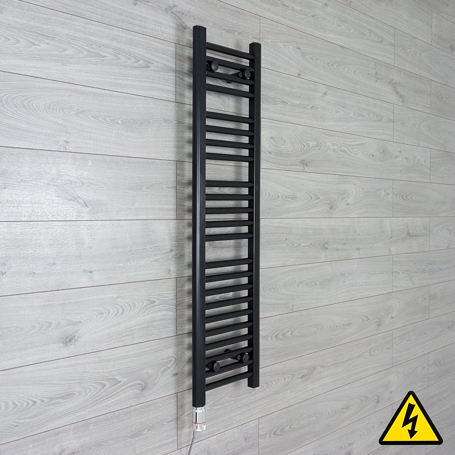 companyblue 300mm Wide Black Thermostatic Electric Heated Pre-Filled Towel Rail Radiator Flat Ladder for Stylish Bathroom (600 x 300 mm) CBRAD