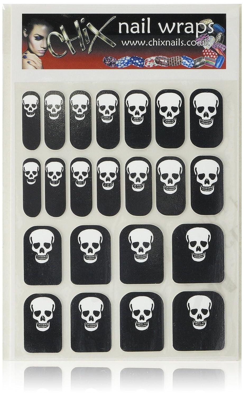Hennen Nägel gelegentlichen Minx schicken Stil Gothic Halloween Finger Zehen Vinyl Folien Nail Wraps, silber Totenkopf Print Chix Nails Occ12