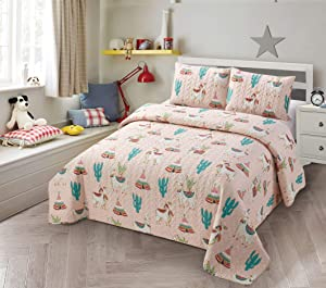 Better Home Style Multicolor Llama Alpaca Cactus Indian Southwest Design Kids/ Girls /Toddler 2 Piece Coverlet Bedspread Quilt Set with Sham # Llama (Twin)