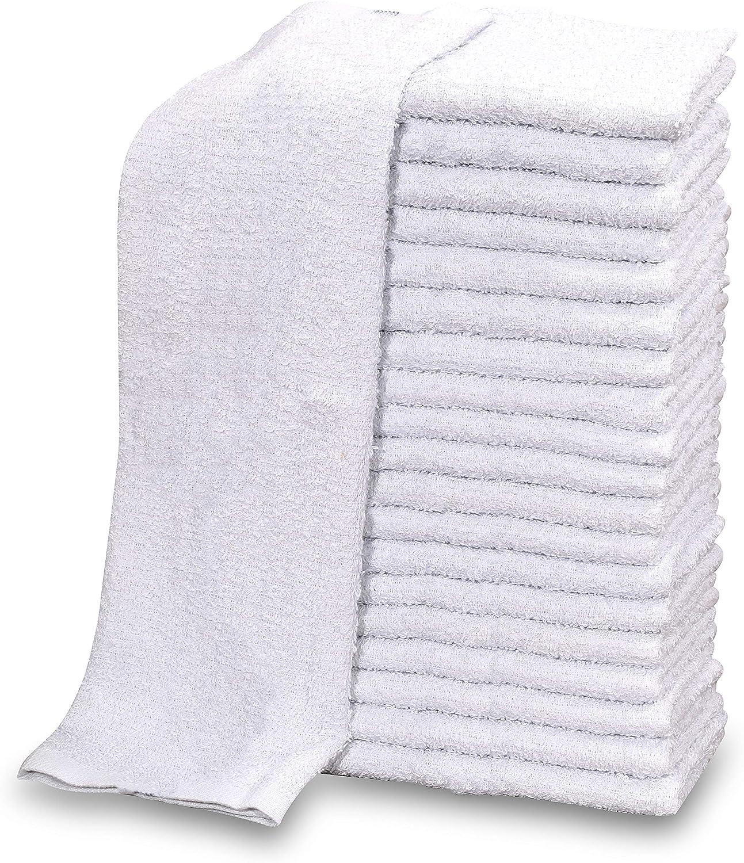 GOLD TEXTILES 120 PC New Cotton Blend White Restaurant Bar Mops Kitchen Towels 28oz (10 Dozen) (120, White)