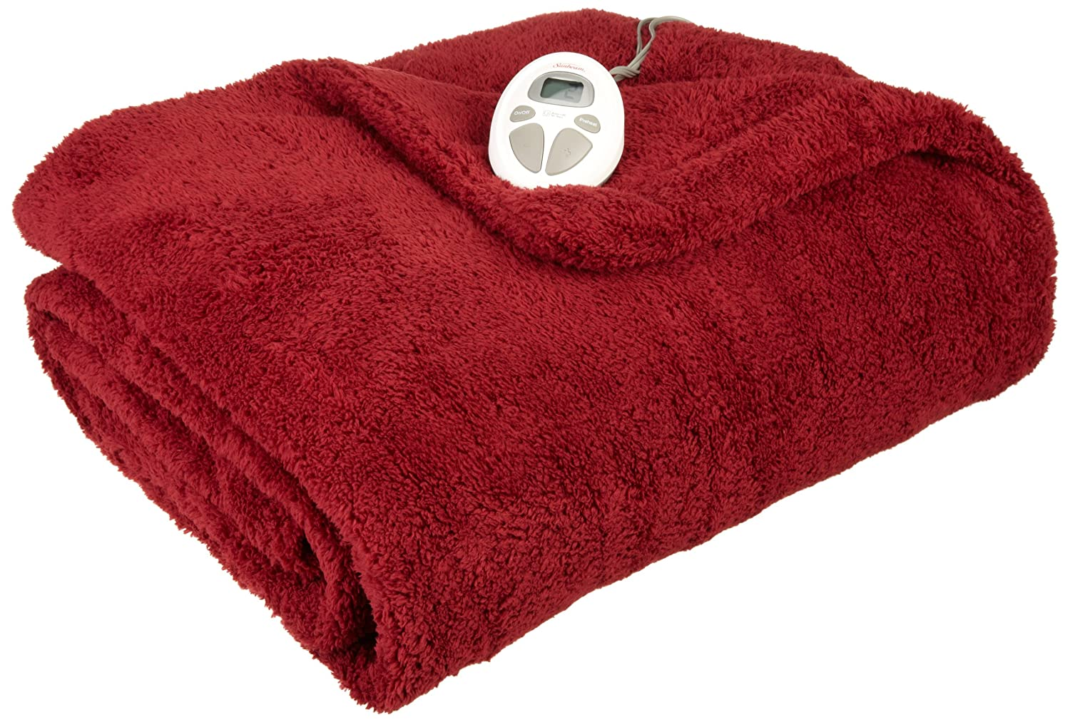 Sunbeam Heated Blanket | LoftTec, 10 Heat Settings, Garnet, Twin
