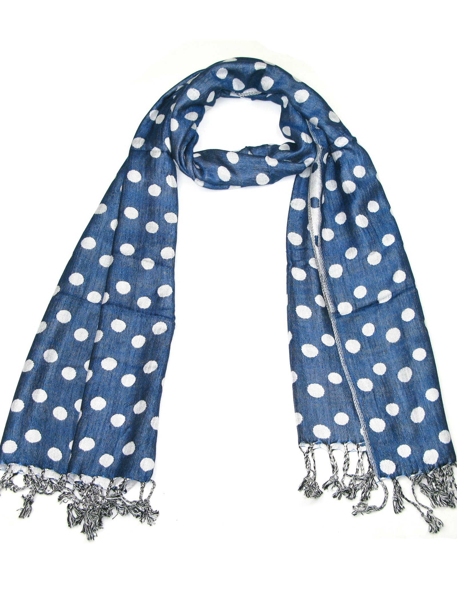 Blue Polka Dot Pashmina Scarf for Women - Fine Quality Dots spots scarves