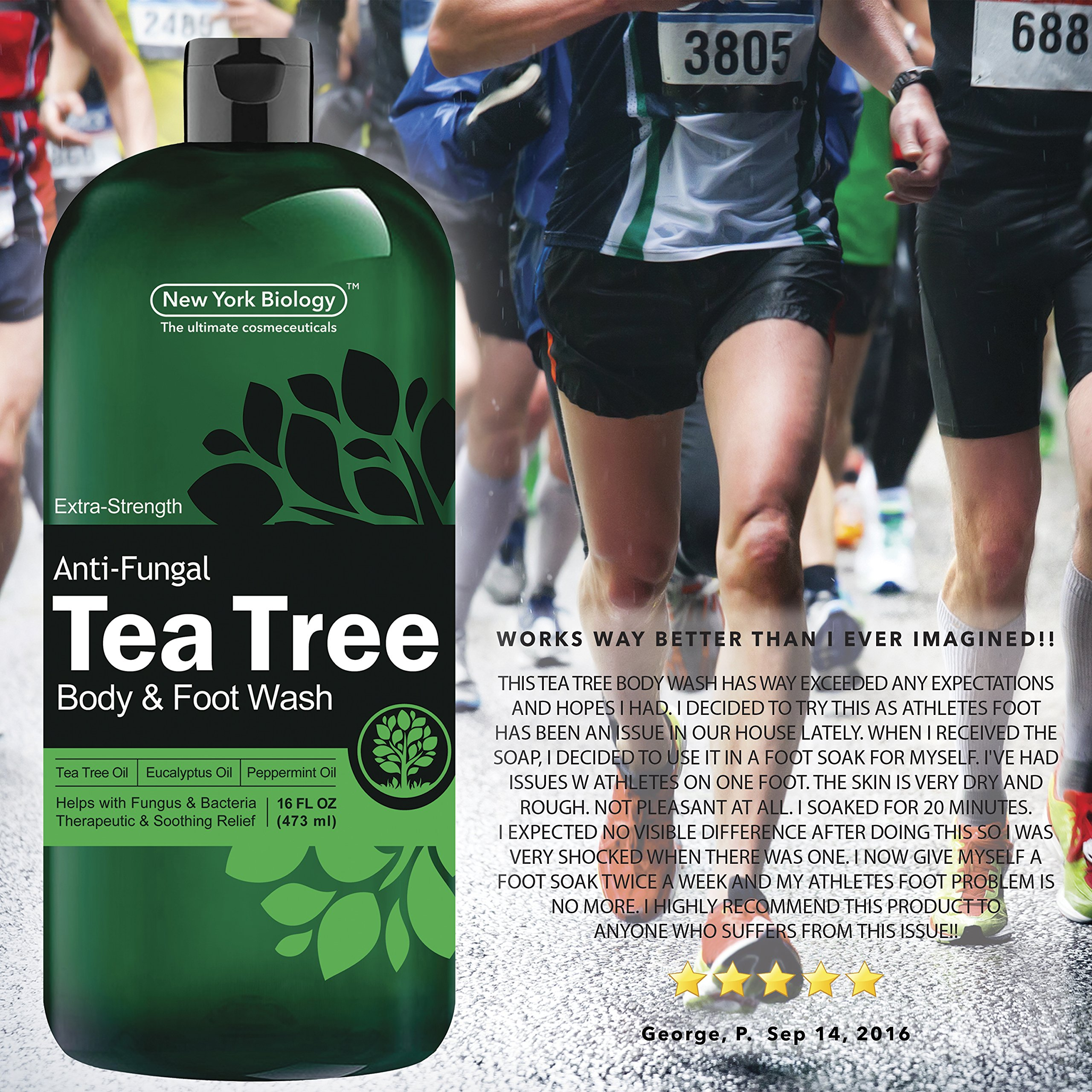 Antifungal Tea Tree Oil Body Wash – HUGE 16 OZ – 100% Pure & Natural - Extra Strength Professional Grade - Helps Soothe Toenail Fungus, Athlete Foot, Body Itch, Jock Itch & Eczema by New York Biology (Image #5)