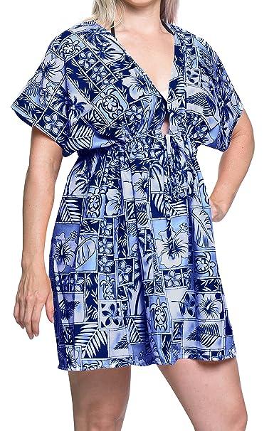 LA LEELA Mujer Likre Kimono Ropa de Playa de baño Bikini Traje de baño Blusa Suelta la Tapa Azul: Amazon.es: Ropa y accesorios