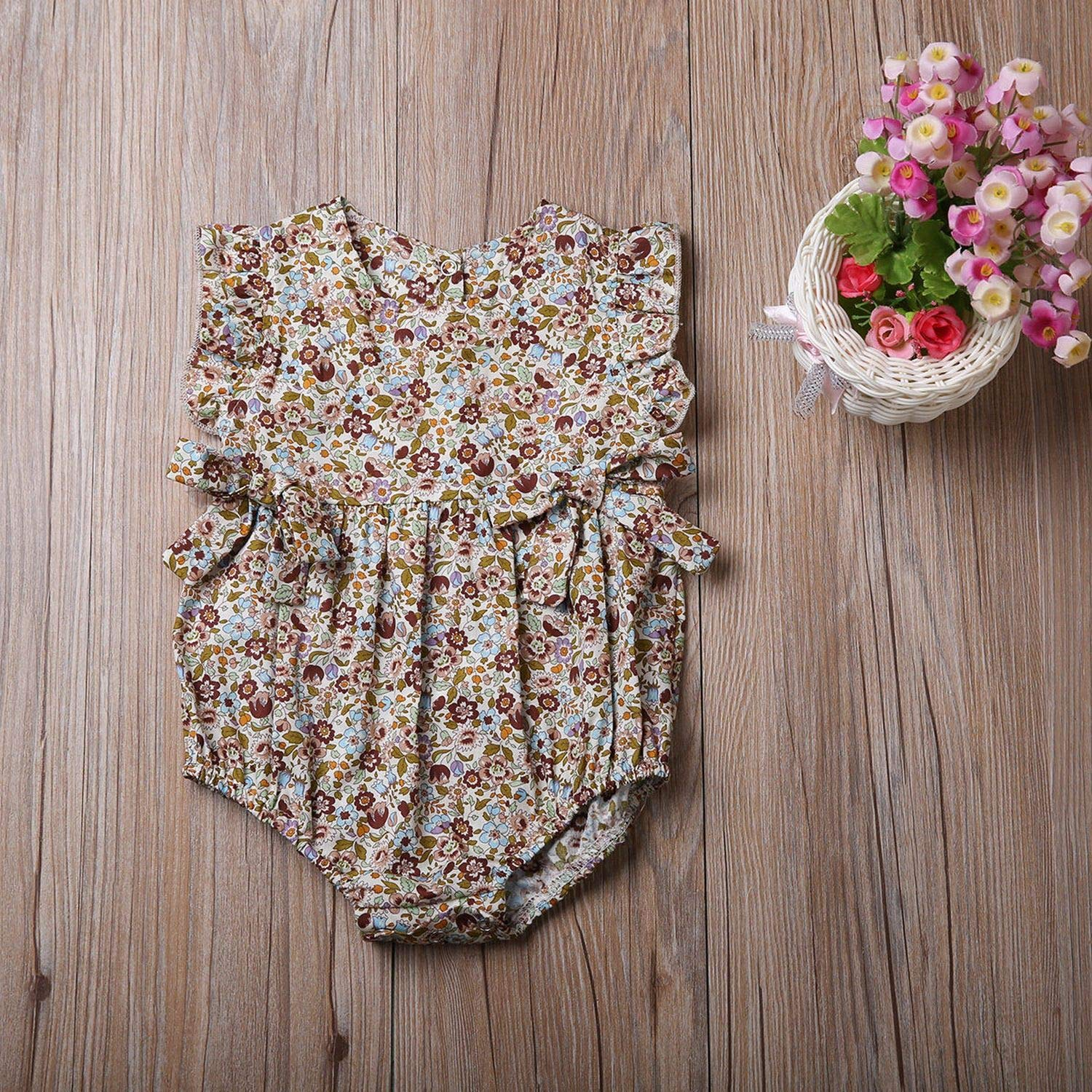 Cute Newborn Baby Girls Floral Romper Bowknot Clothes One Pieces Jumpsuit Outfit Infant Toddler Girl Sleeveless Brief Rompers