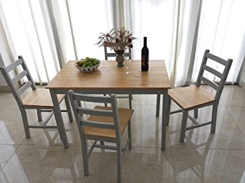 Solid Wood Dining Table And 4 Chairs Contemporary Dining Set (Grey)