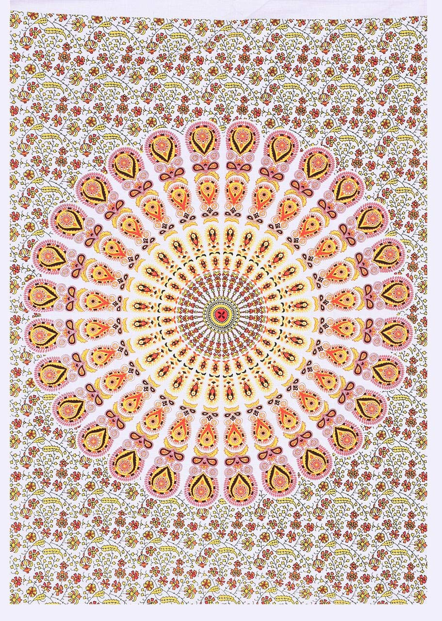 Gold Color Flower Ombre Mandala Wonderful Design Small Tapestry Poster Cotton