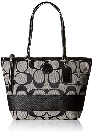 881e191d57 Image Unavailable. Image not available for. Color: Coach 17433BW Signature  Stripe Shopper Bag Tote Black and White