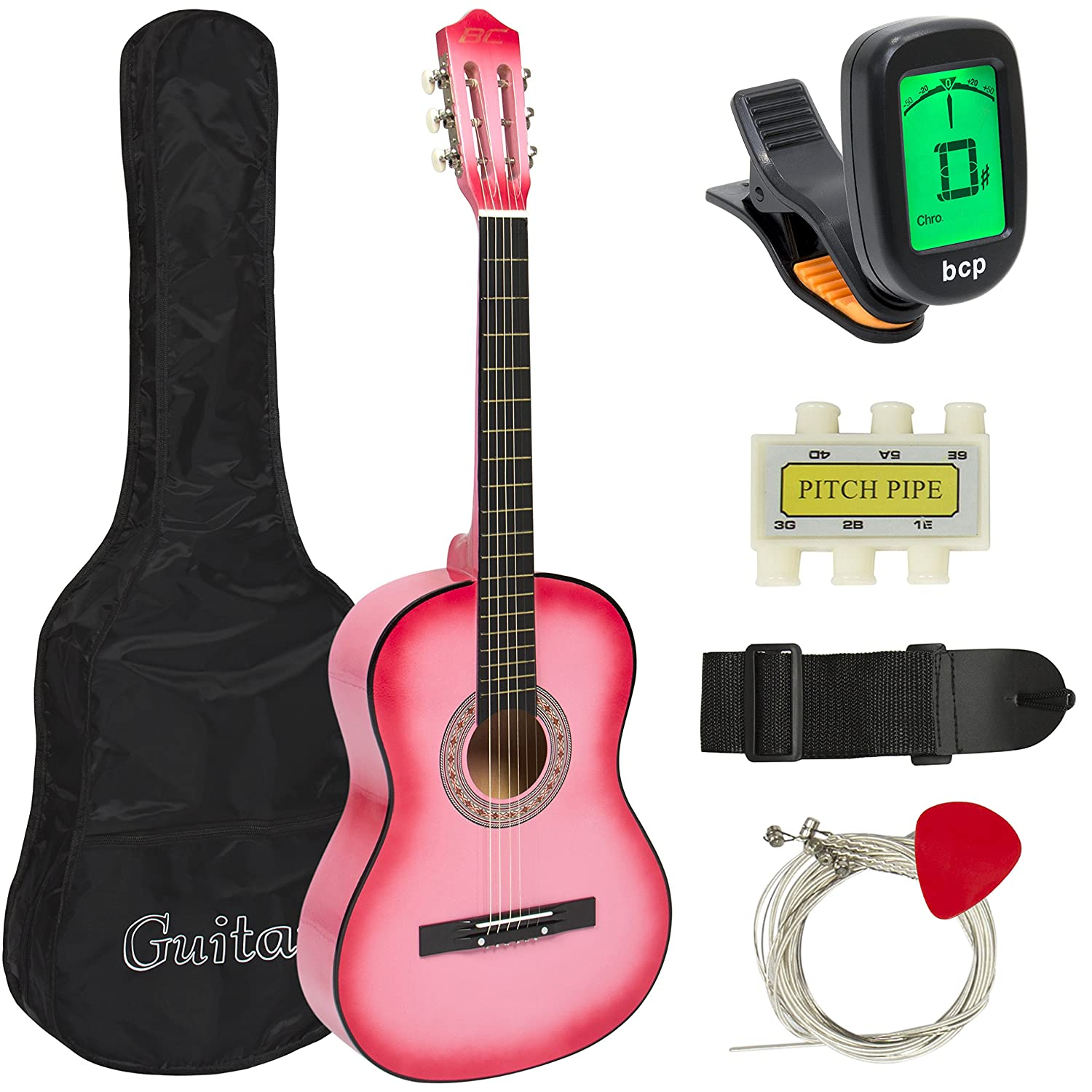 Best Choice Products SKY587 Beginners 38'' Acoustic Guitar with Case, Strap, Digital E-Tuner, and Pick, (Pink)