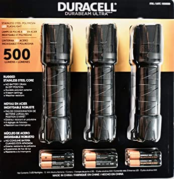 Duracell 2500 Lumens Variable Focus LED Flashlight //12 AA Batteries include